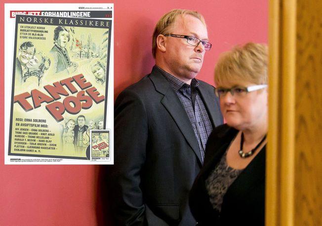 POSE-KAMP? Frps Per Sandberg og Venstreleder Trine Skei Grande nekter å ta ansvaret/æren for poseavgiften. Nå er det usikkert hvem som skal betale.