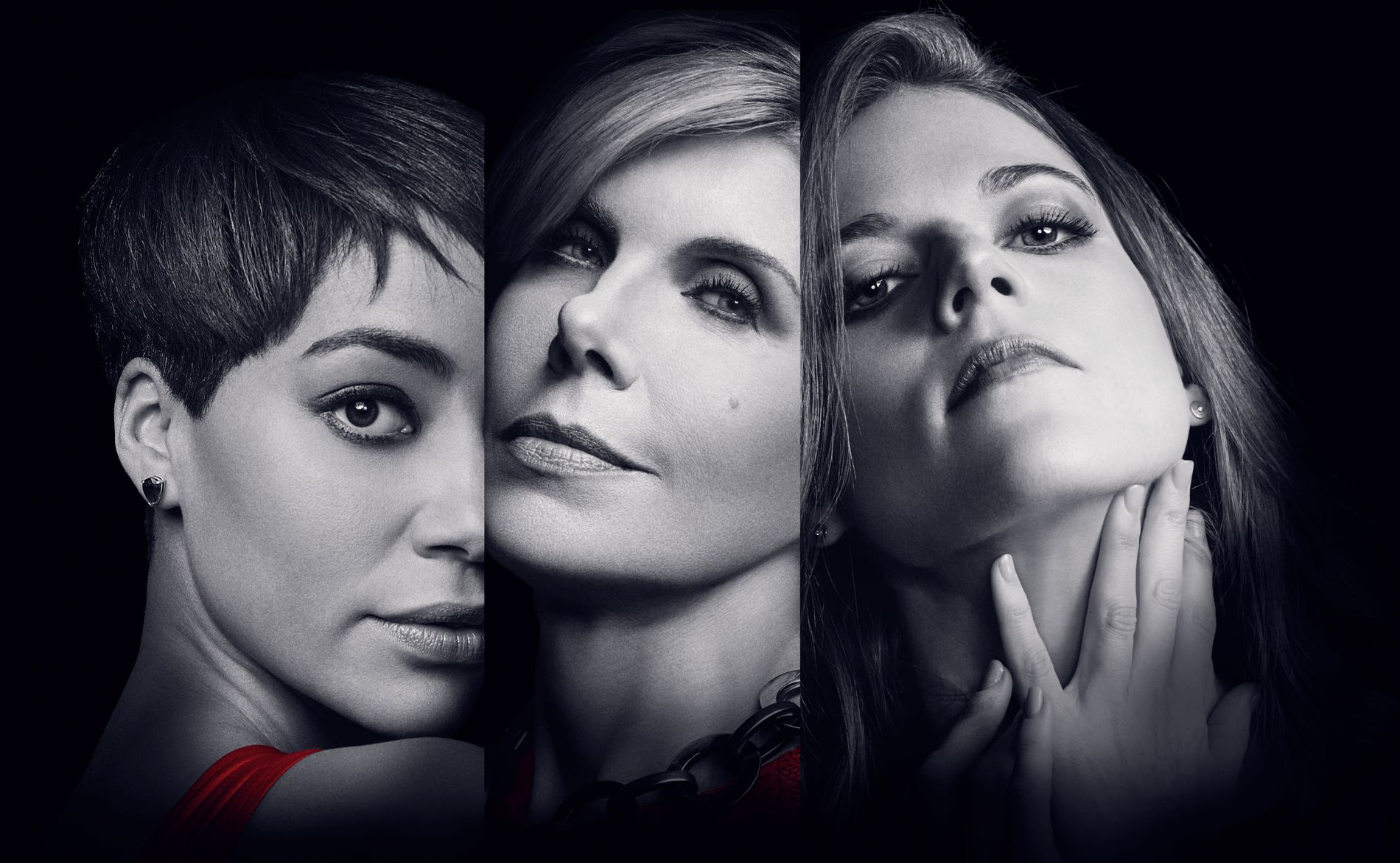 HARDTSLÅENDE: Cush Jumbo, Christine Baranski og Rose Leslie i «The Good Fight». Foto: HBO Nordic