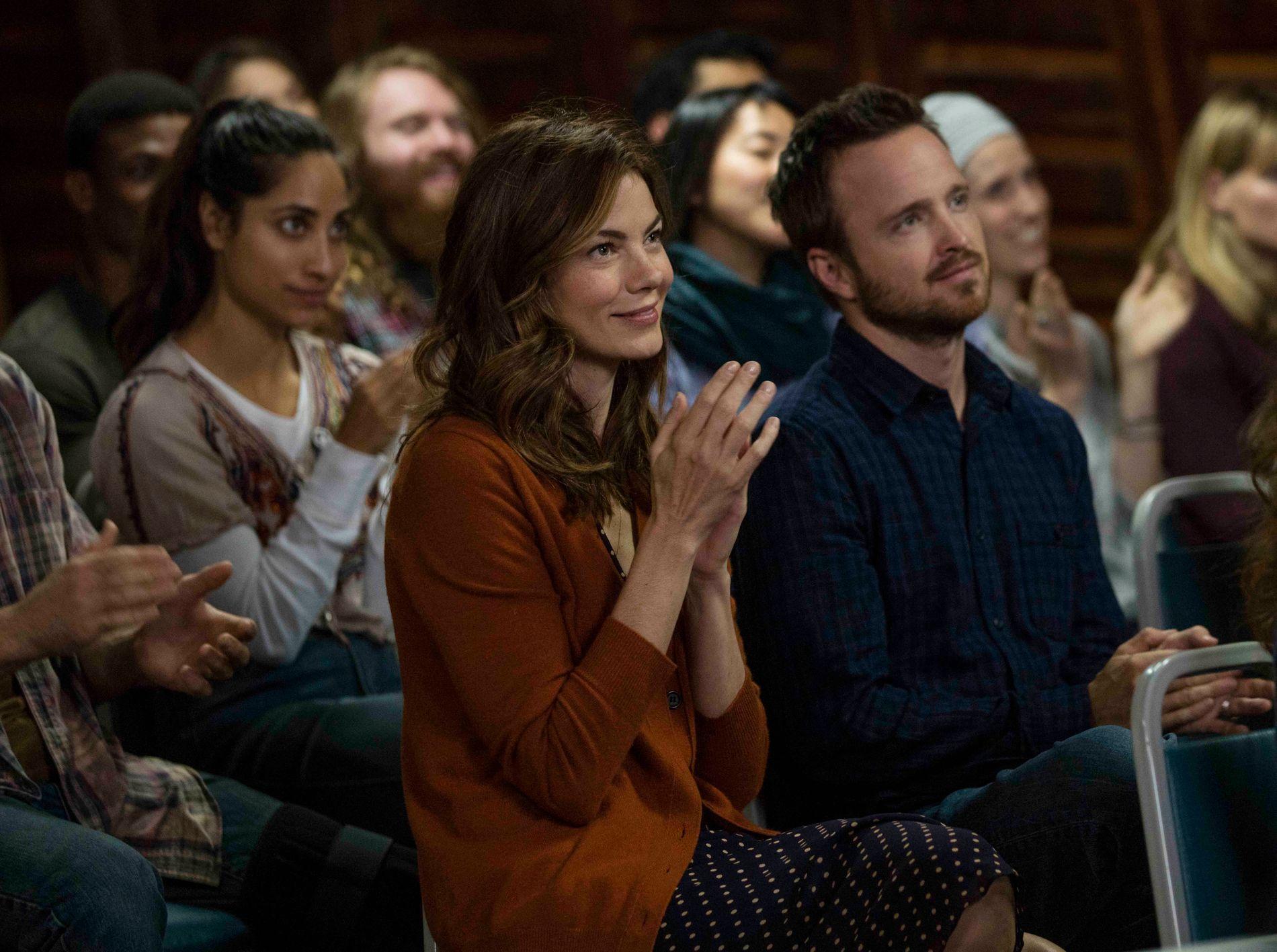 TILBAKE I TROEN: Michelle Monaghan som Sarah Lane og Aaron Paul som Eddie Lane i sesing 1 av «The Path».