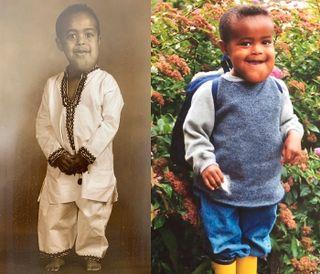 På bildet til venstre har Haldammen på seg Etiopias nasjonaldrakt som 3-åring.