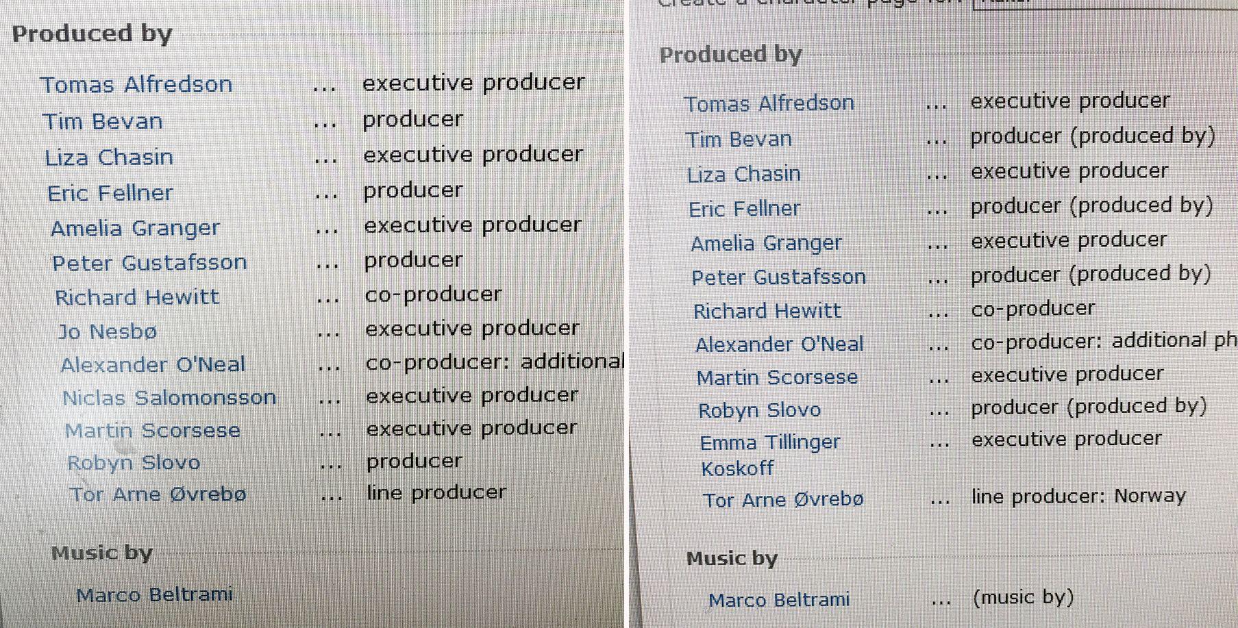 TATT BORT: Her er bilder av produsentlisten på imdb.com tatt med bare noen dagers mellomrom. På den ferske listen til høyre, står ikke Jo Nesbø og Niclas Salomonsson oppført som produsenter lenger.