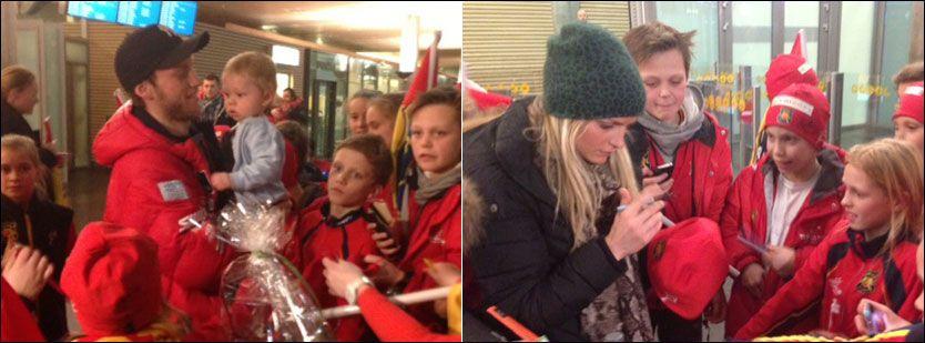HYLLET: Martin Johnsrud Sundby (t.v.) ble tatt imot av sønnen Markus og fans på Gardermoen. Therese Johaug tok seg god tid til å signere autografer. Foto: Camilla Vesteng