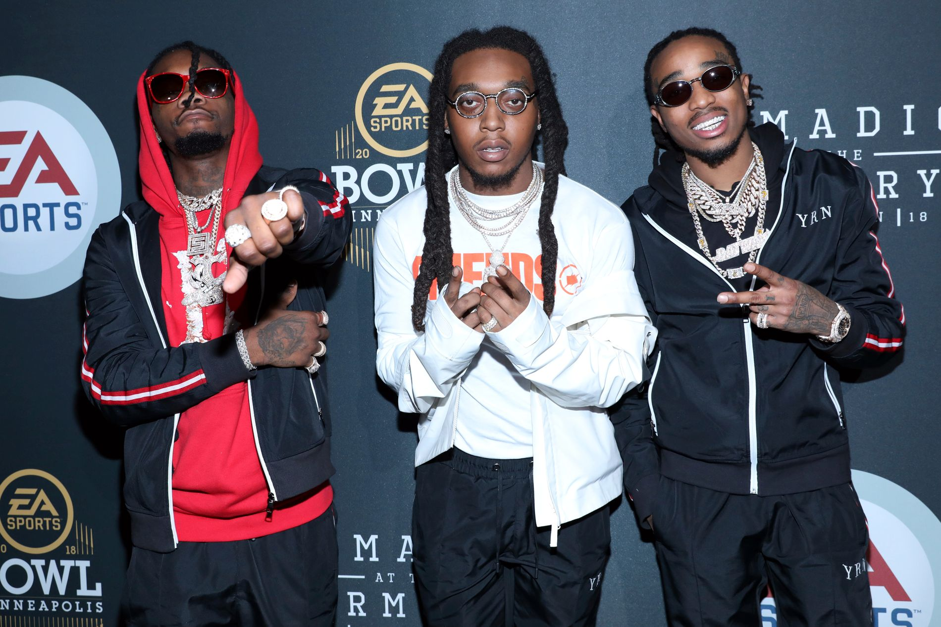 KLAR FOR SØRLANDET: Migos, her på en fest før Superbowl i Minneapolis 1. februar.