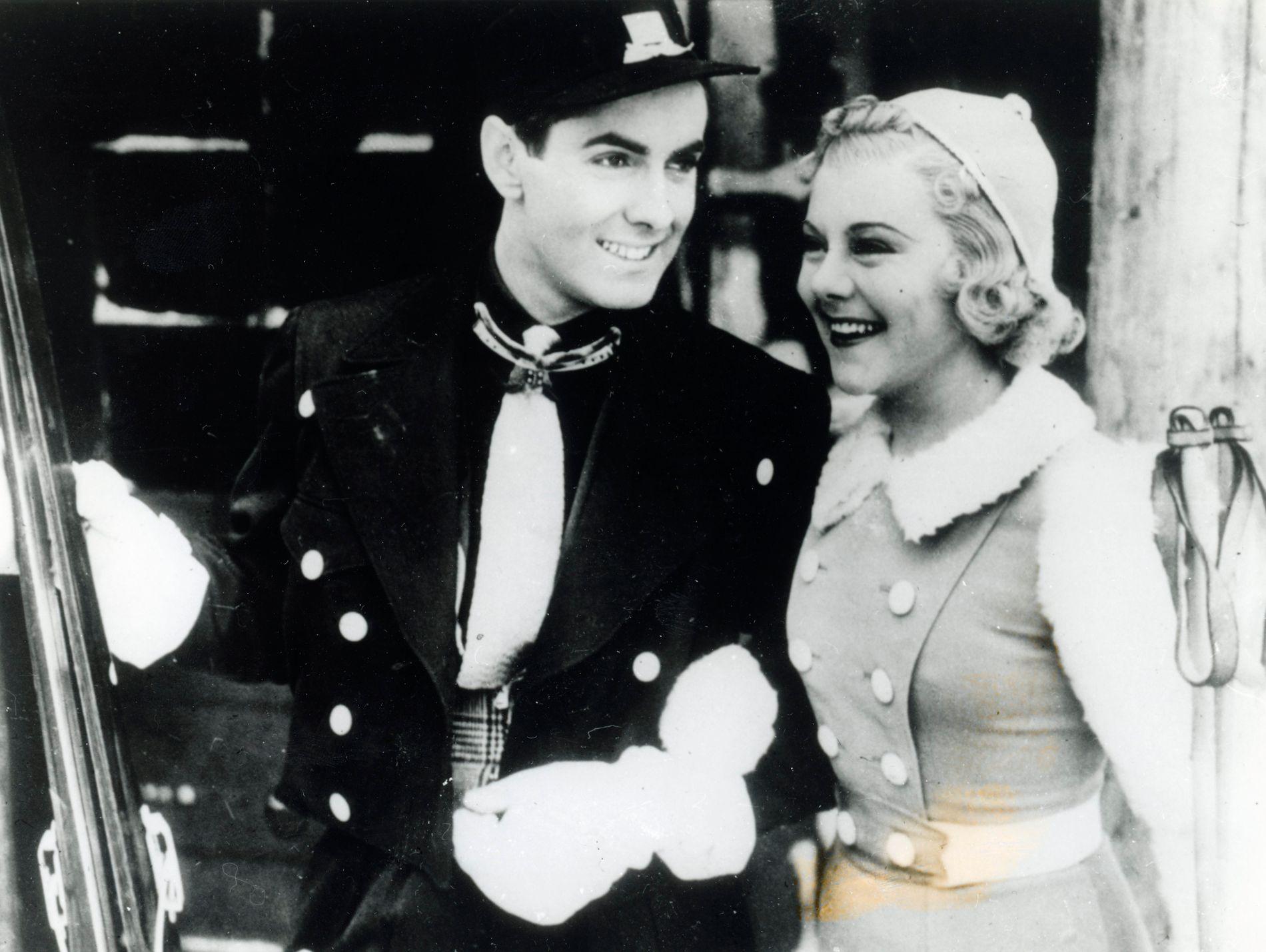 KJÆRESTER OG KOLLEGER: Sonja Henie og Tyrone Power jr. spilte sammen i «Thin Ice» i 1937. Henie skal ha vært forelsket i ham, men Power giftet seg med en fransk skuespiller i 1939.
