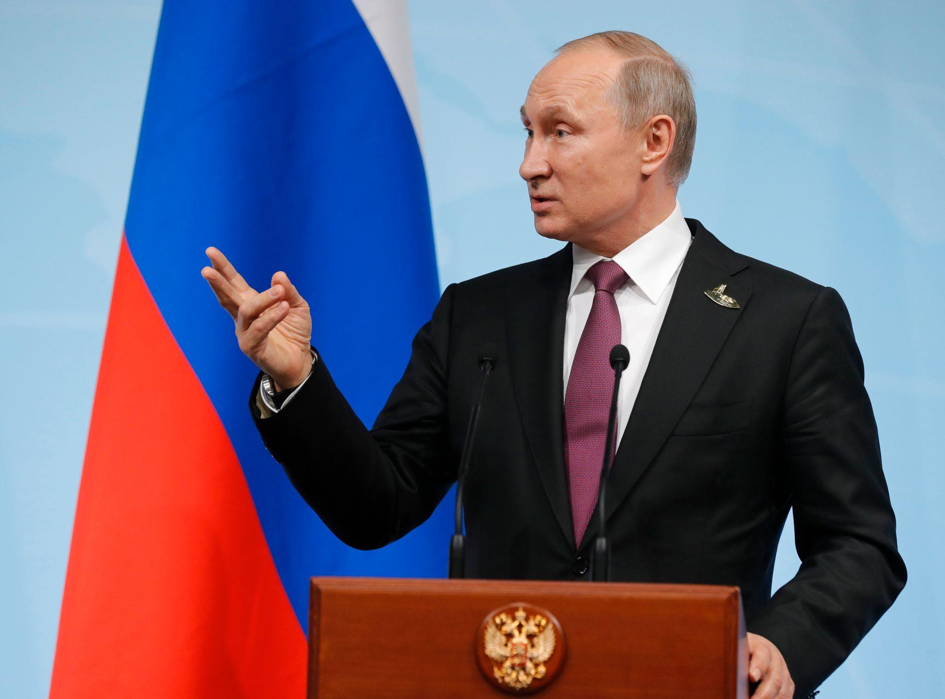 PRESSEKONFERANSE: Russlands president Vladimir Putin svarte pressen etter G-20 møtet i Hamburg.