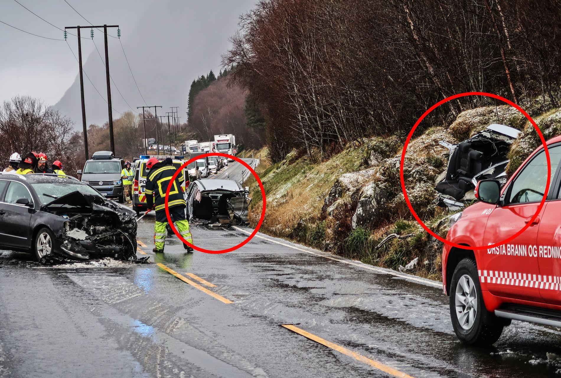 KUTTET I TO: Den voldsomme ulykken førte til at den ene bilen ble delt i to – men føreren slapp fra det med lettere skader.