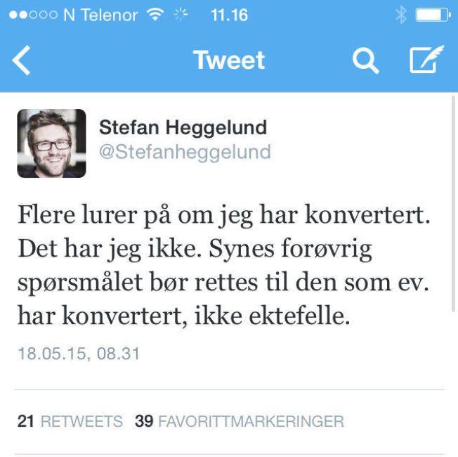Stefan Heggelund, skjermdump fra Twitter.