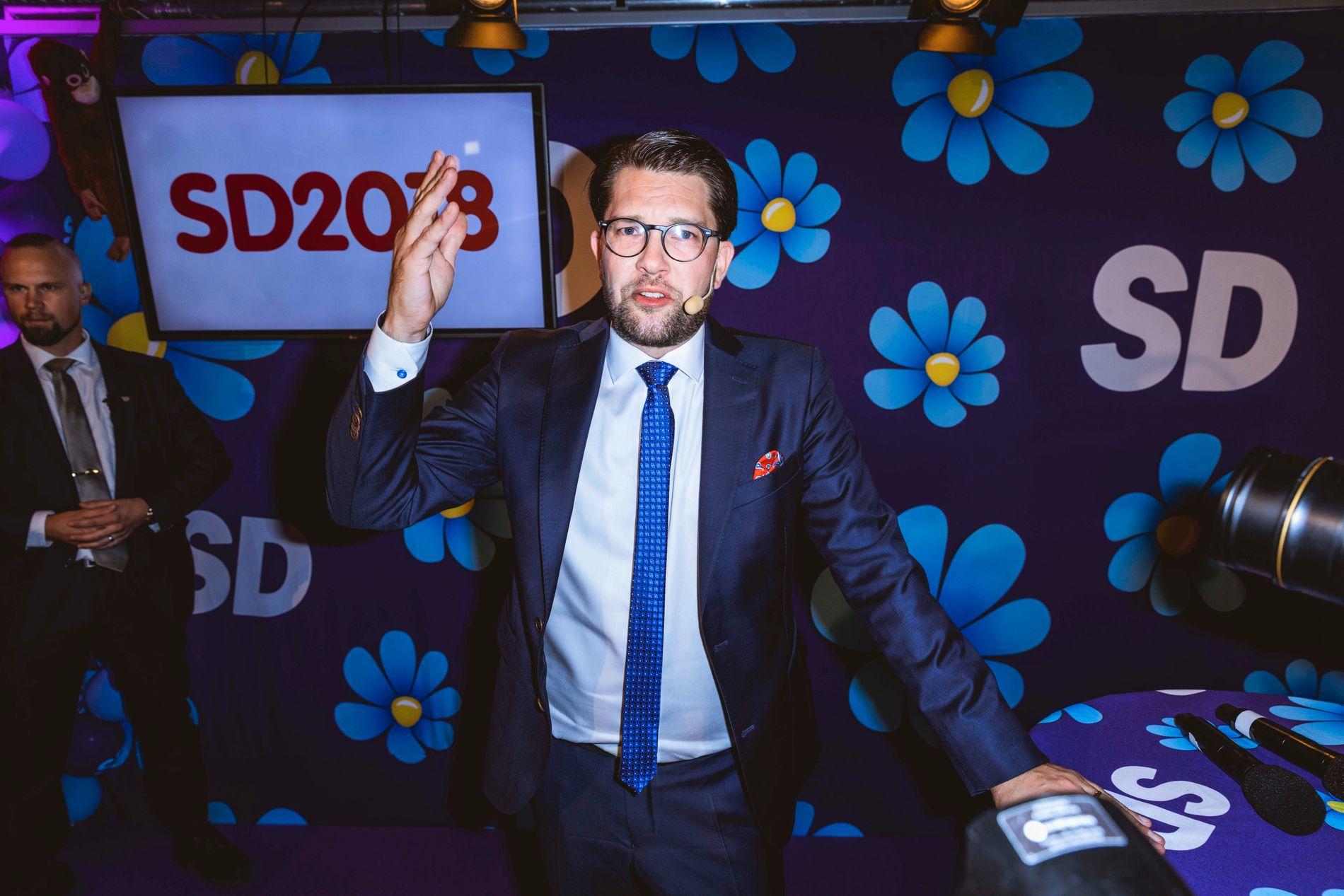 ULTIMATUM: Jimmie Åkesson vil ikke støtte en borgerlig regjering uten å få innflytelse. Her er han på SDs valgvake natt til mandag.