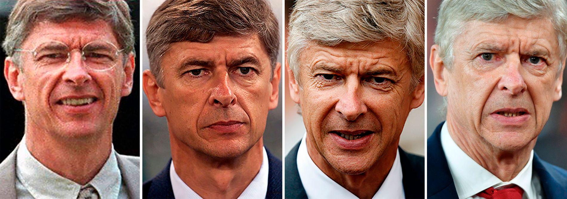 WENGER: Fotografert i 1997,  i 2000, i 2009 og i 2018. Samtlige tilfeller i egenskap av Arsenal-manager.
