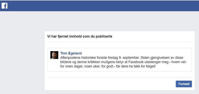 BEGRUNNELSEN: Her er posten Facebook fjernet, og som Egeland fikk tre dager i eksil for.