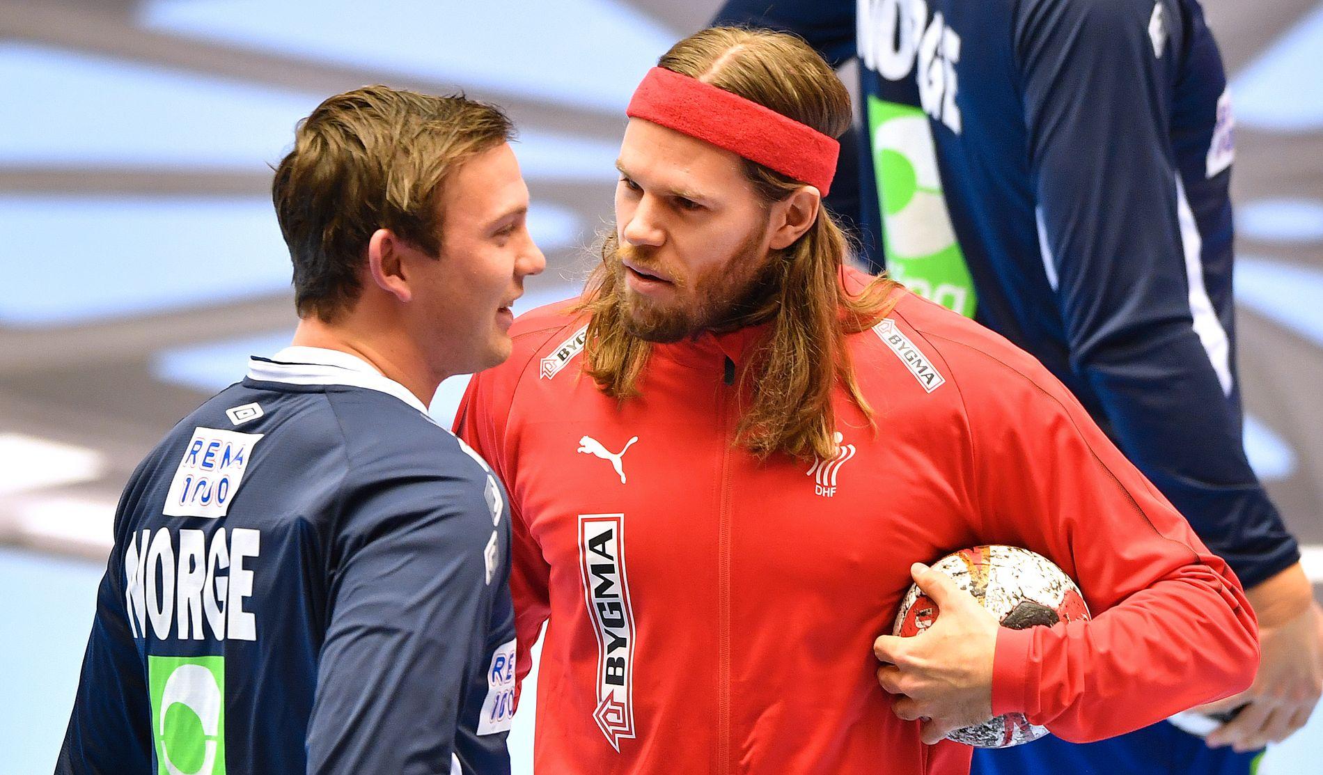 STJERNEMØTE: VM-finalens heteste duell står mellom Sander Sagosen (til venstre) og Mikkel Hansen – til daglig lagkamerater i PSG. VG mener Danmark ligger best an foran VM-finalen.