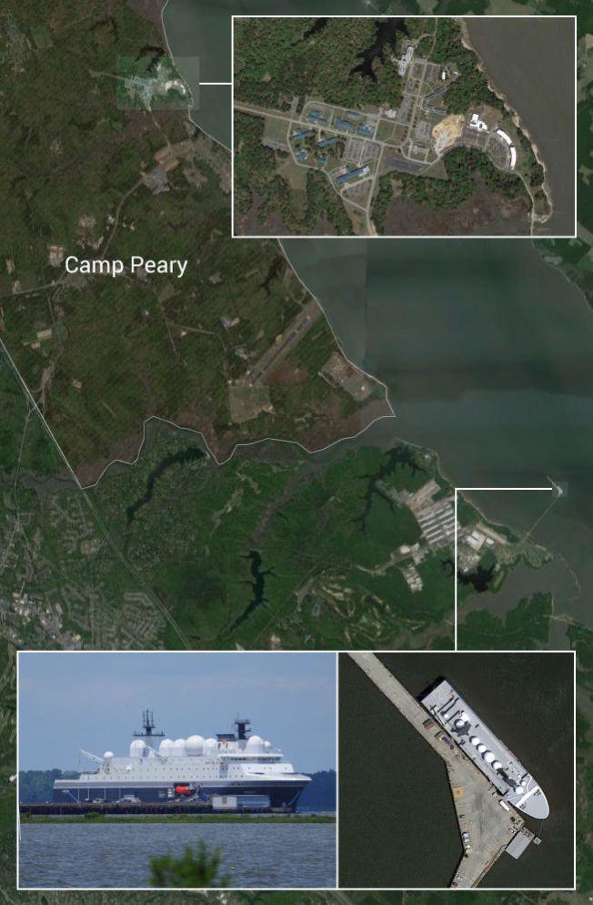 GODE NABOER: Her er bildet på et godt amerikansk-norsk etterretningssamarbeid: I syv måneder har det norske spionskipet «Marjata» (innfelt nede til høyre) vært fortøyd ved den amerikanske marinebasen Cheatham Naval Station i York-elven i Virginia. Noen få hundre meter lenger nord, ligger den topphemmelige CIA-basen Camp Peary (skravert område). Grafikk: SONDRE NILSEN