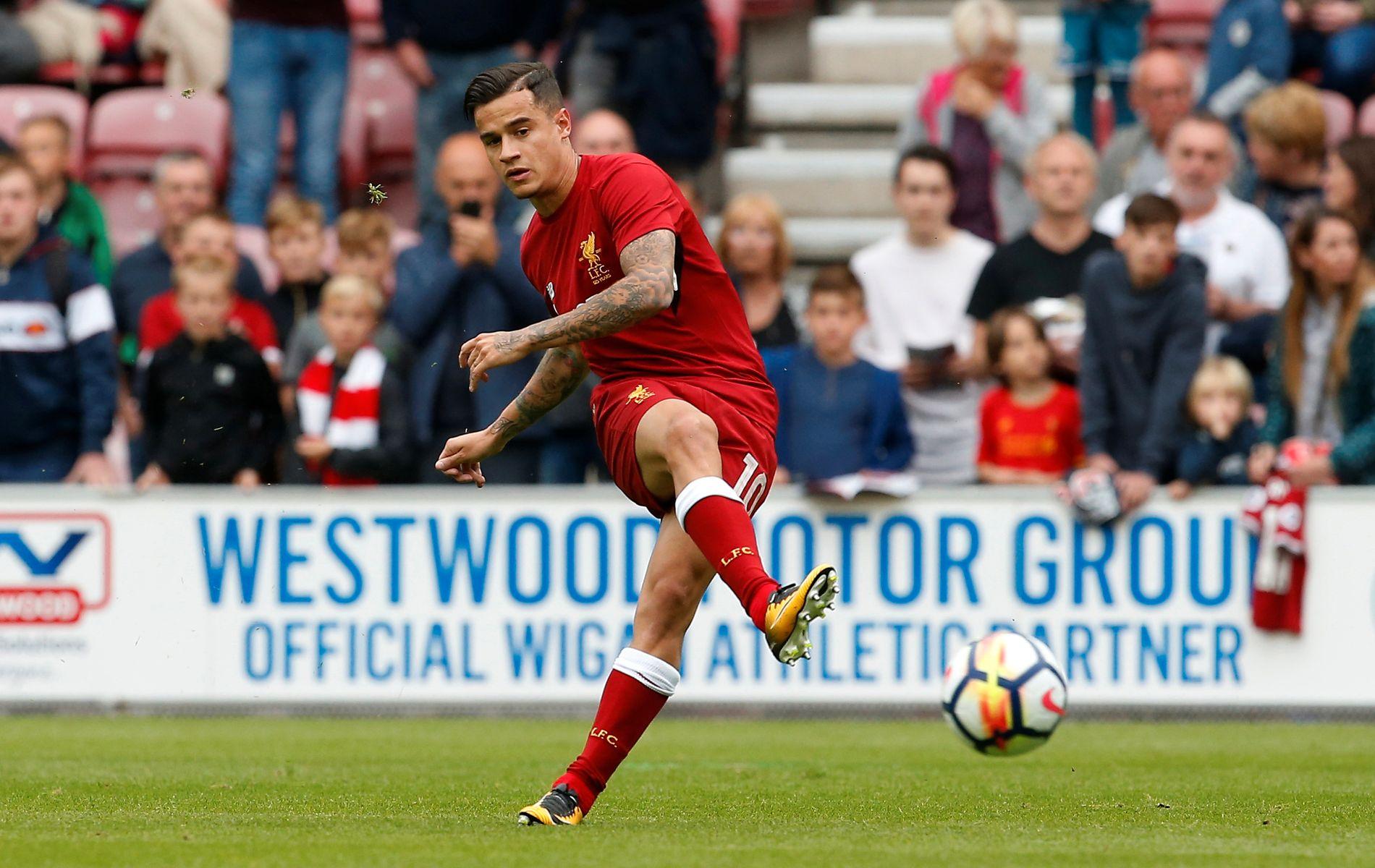 HET: Coutinho i aksjon for Liverpool i sommerens treningskamp mot Wigan.