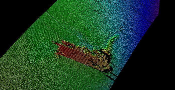 IKKE «NESSIE»: Dette sonar-bildet, tatt av den Horten-produserte roboten Munin, viser «monsteret» som nylig ble oppdaget i den skotske innsjøen Loch Ness.