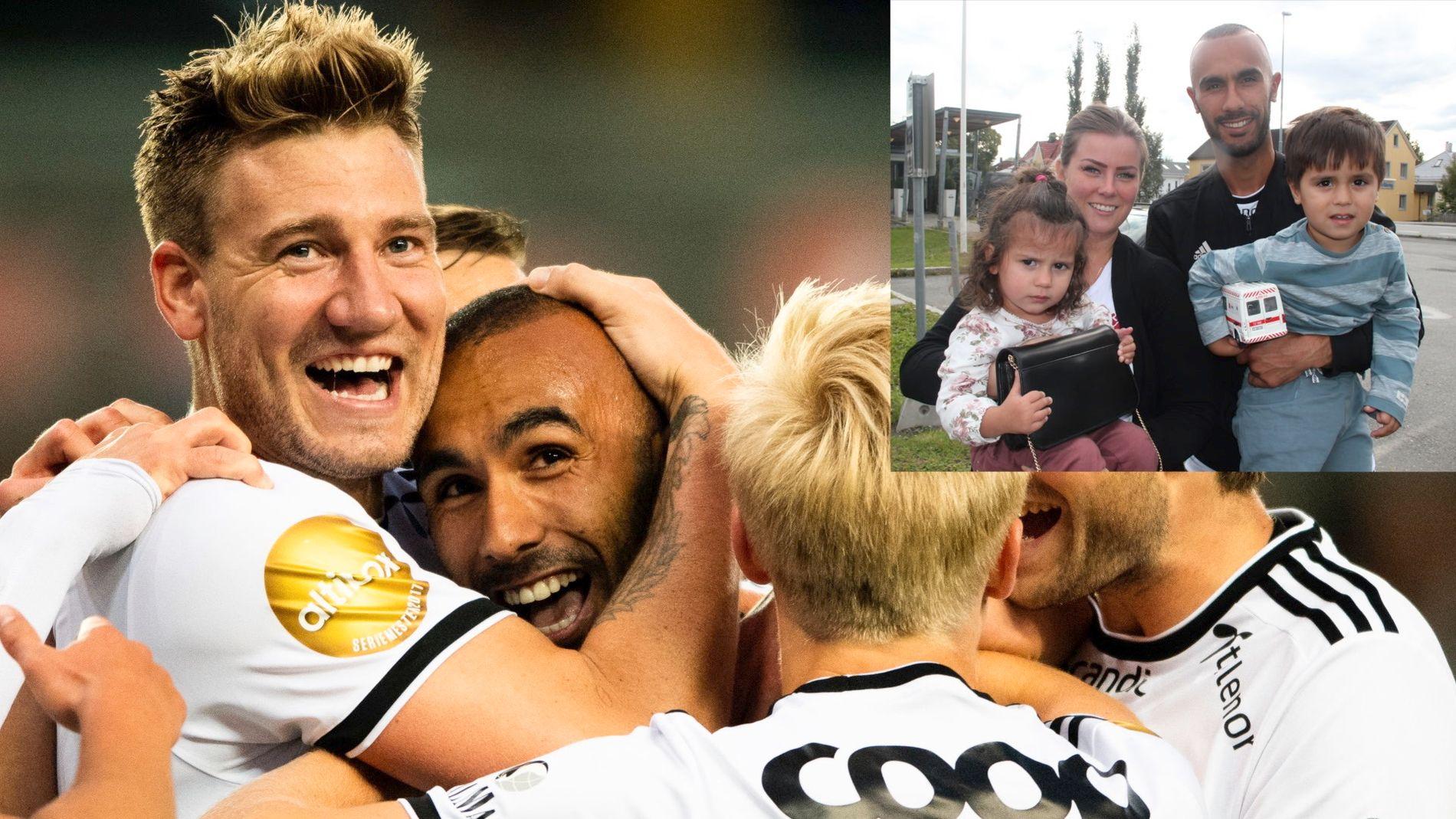 PANGSTART: Rosenborg-spiller Issam Jebali gratuleres av Nicklas Bendtner. På bildet oppe til høyre er han sammen med kona Niina Jebali og barna Yasmine (1,5 år) og Youssef (3) utenfor RBK-Brakka i Trondheim