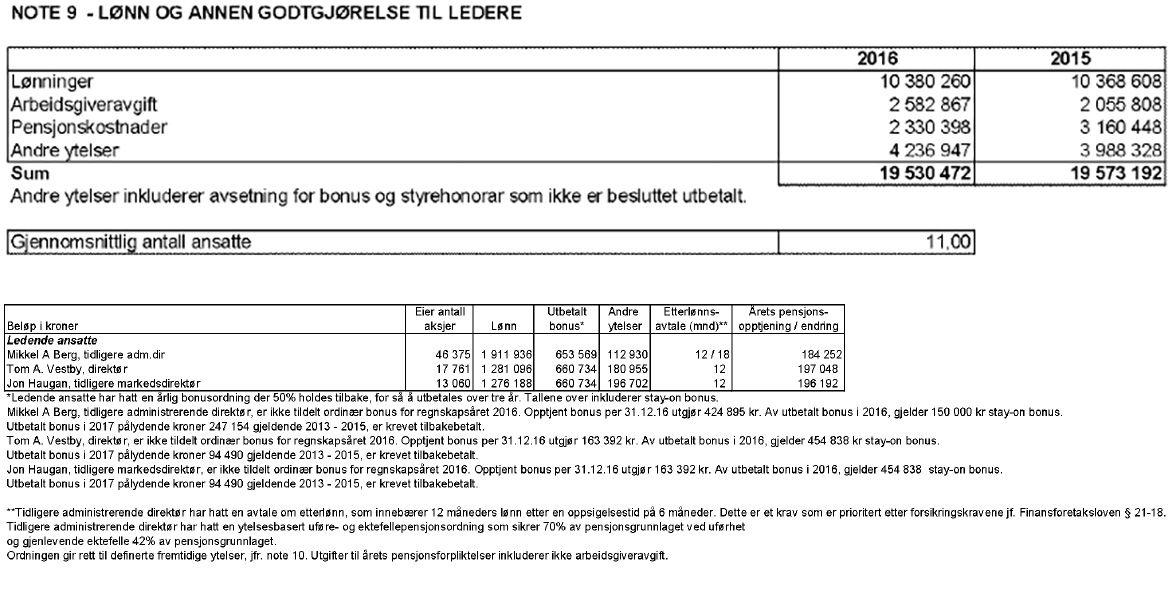 Faksimile av note om bonuser til ledende ansatte i Silver i årsregnskapet 2016.