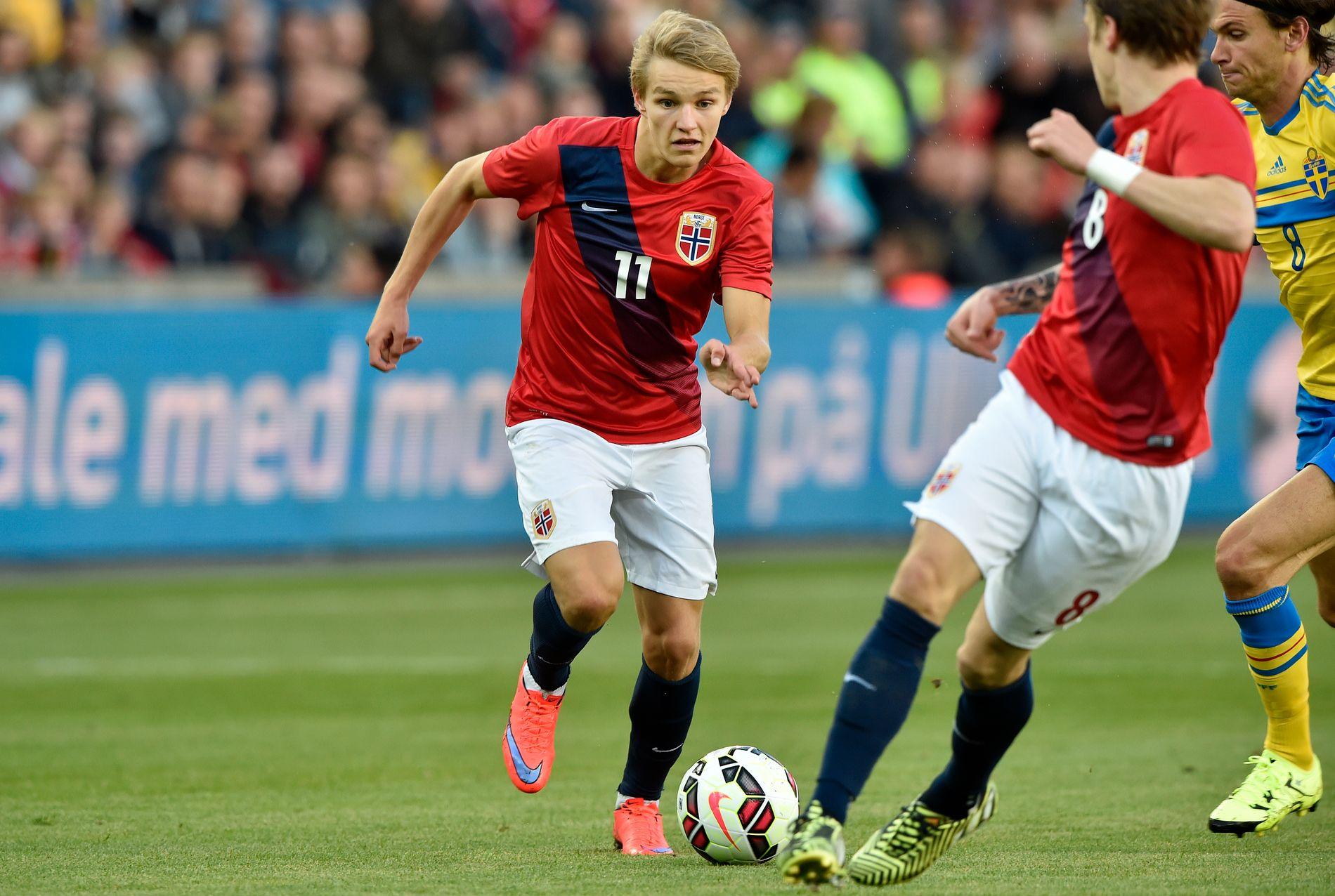 TILBAKE I MADRID: Martin Ødegaard er ferdig med sitt opphold i Heerenveen. Her under en privatlandskamp mot Sverige i 2015.