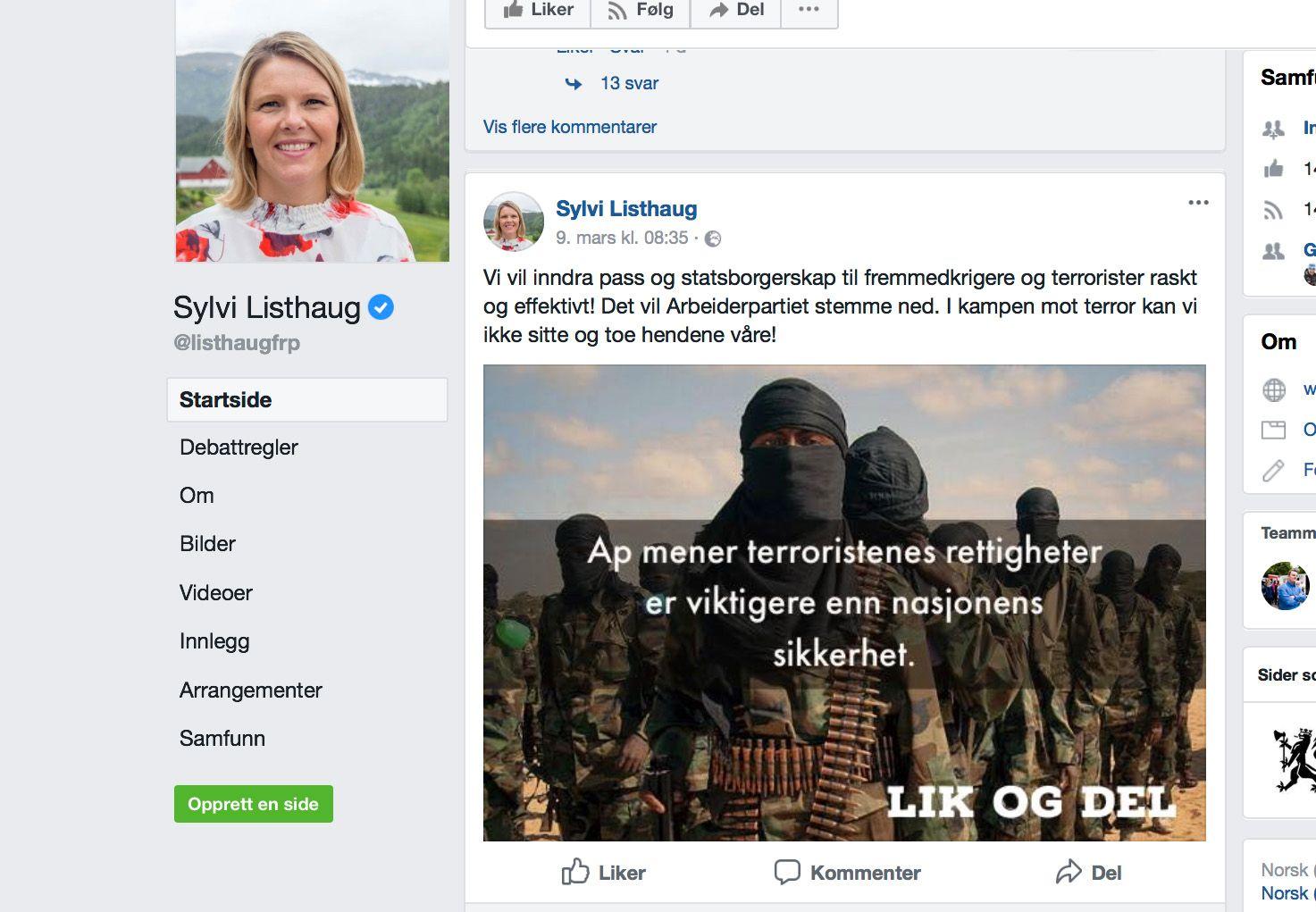 SLETTET: Onsdag slettet Listhaug den omstridte posten fra Facebook.