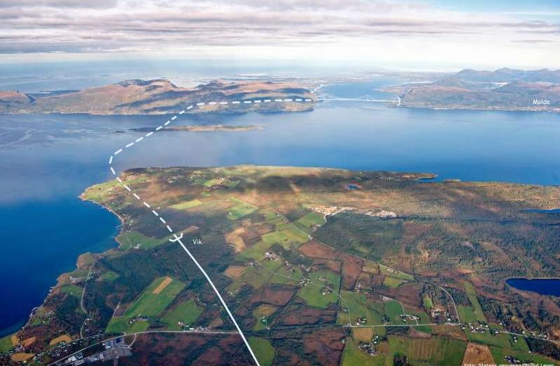 NY E39 ÅLESUND-MOLDE: Slik tenker Statens vegvesen at E39 mellom Ålesund og Molde skal gå – med en mer enn 400 meter dyp tunnel under fjorden.