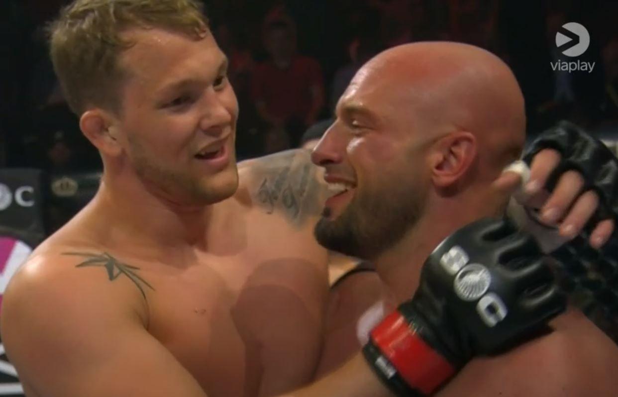 NY SEIER: Marthin Hamlet (t.v.) var overlegen i MMA-buret igjen. Koray Cengiz fikk smake på nordmannens krefter i lørdagens oppgjør.