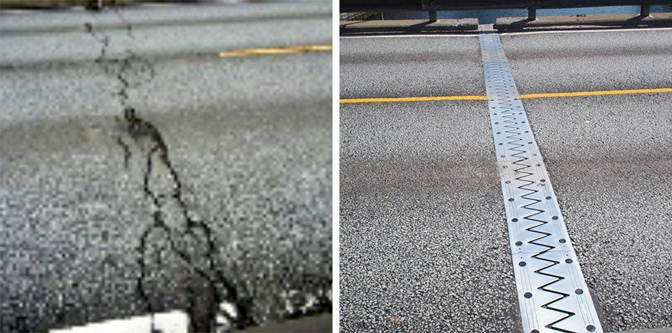 FØR OG ETTER: Denne asfaltsprekken midt på broen til venstre er registrert som en kritisk skade for trafikksikkerheten. Da VG besøkte broen i mai 2018, var skaden på bildet til høyre for lengst reparert. Men det sto ikke noe sted i Vegvesenets database.