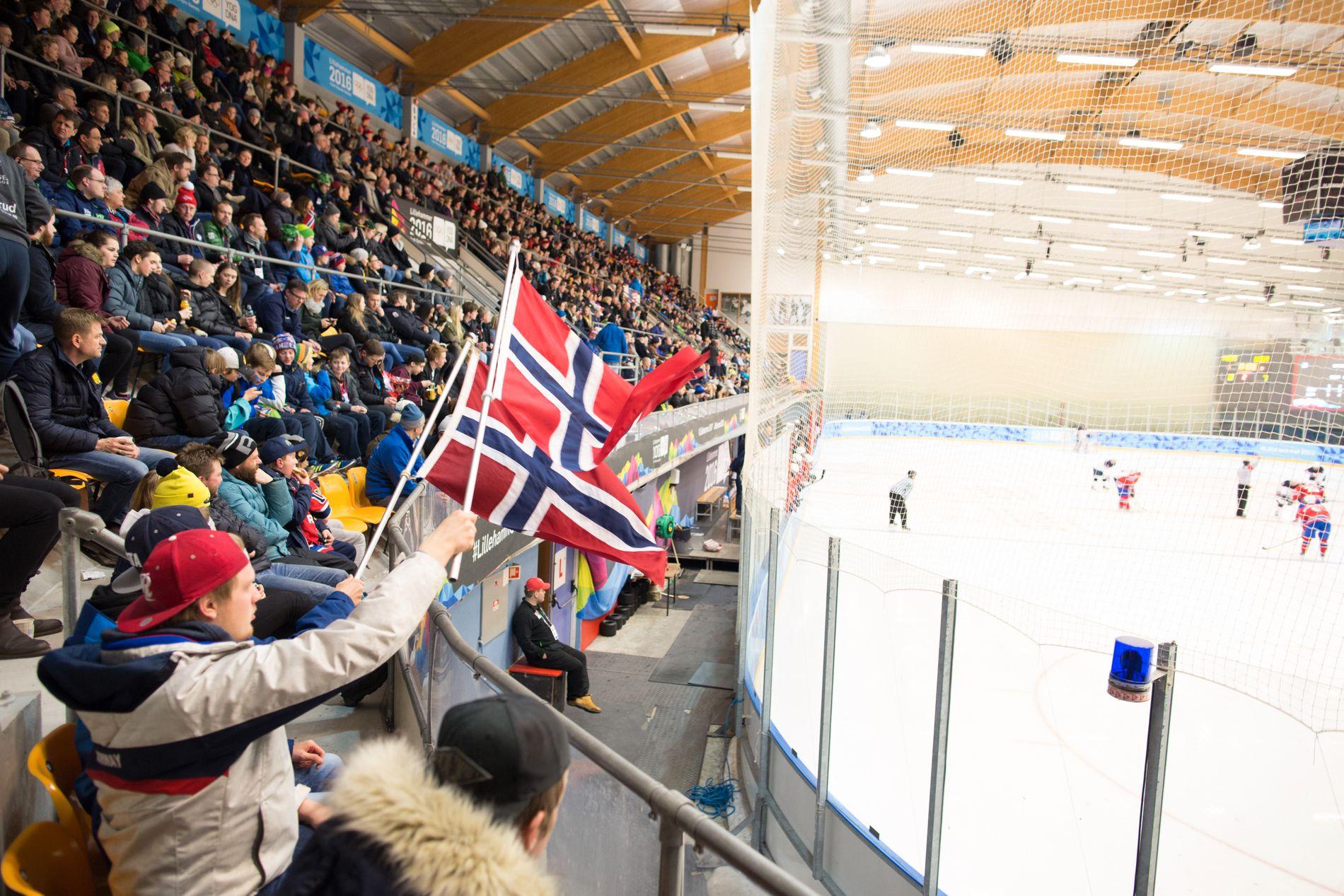 OL 2016: Ishockey i Kristins Hall under ungdoms-OL i 2016. Dette bilde er fra kampen Norge-USA, noe som endte med norsk tap 8-0.