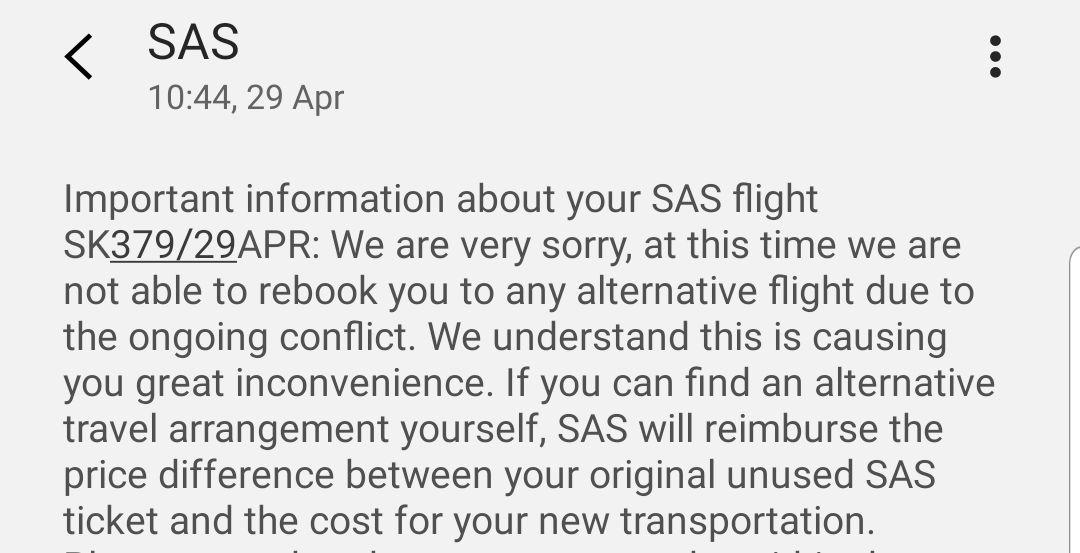 SAS-MELDINGEN: Flyselskapet skrev i en melding mandag, som det her vises et utdrag av, at de ikke hadde mulighet til å booke om passasjeren da flyet hans ble kansellert.