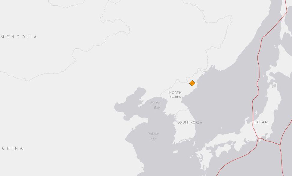 JORDSKJELV: Flere jordskjelv-sentre har registrert et jordskjelv i Nord-Korea rundt klokken 05.30 natt til søndag norsk tid.
