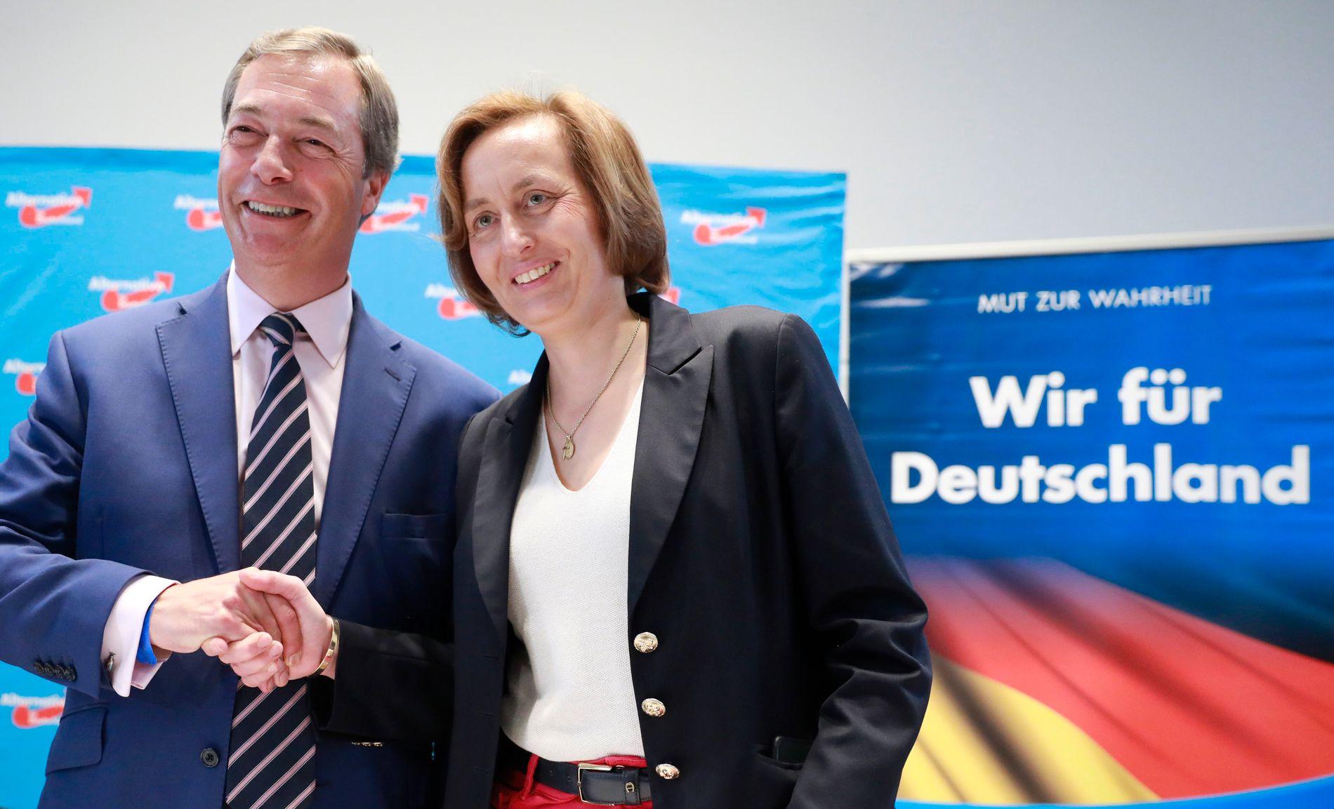 GOD STEMNING: Tidligere UKIP-leder Nigel Farage skal ikke ha latt seg be to ganger da han fikk personlig invitasjon fra AfD-nestleder Beatrix von Storch.