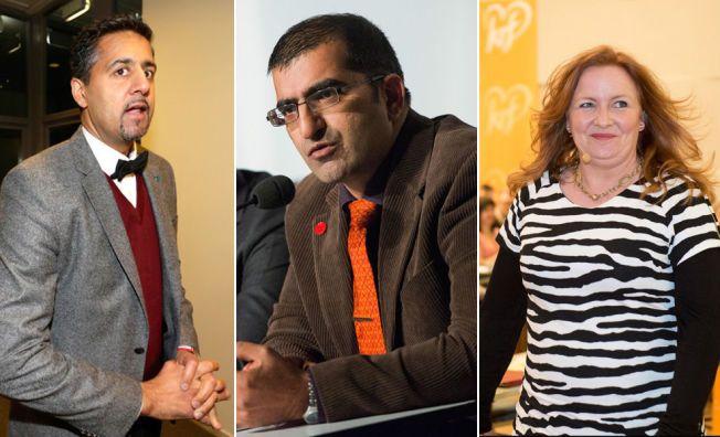 STØTTER TAJIK: Abid Raja (Venstre), Shoaib Sultan (Miljøpartiet de grønne) og Dagrun Eriksen (Kristelig folkeparti) har alle markert sin støtte til Hadia Tajik.