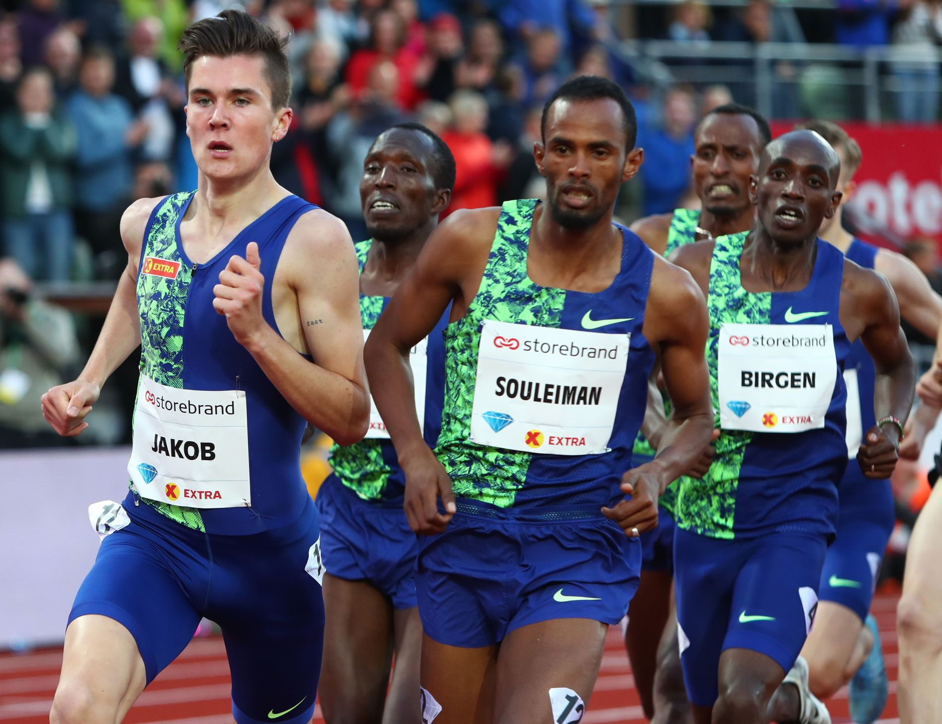 LIKE ILLE: Jakob Ingebrigtsen under milen (1609 meter) under Bislett Games 13. juni.