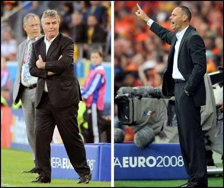 KJENNER HVERANDRE: Marco Van Basten og Guus Hiddink er gamle kjenninger. I kveld leder de hvert sitt lag i EM. Foto: AFP