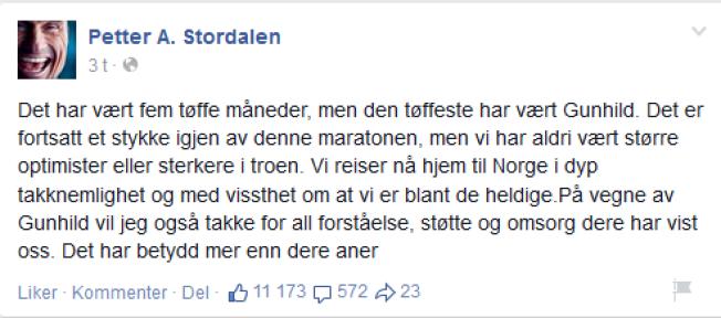 TAKKER: Petter Stordalen takker alle for støtten på sin Facebook-side.