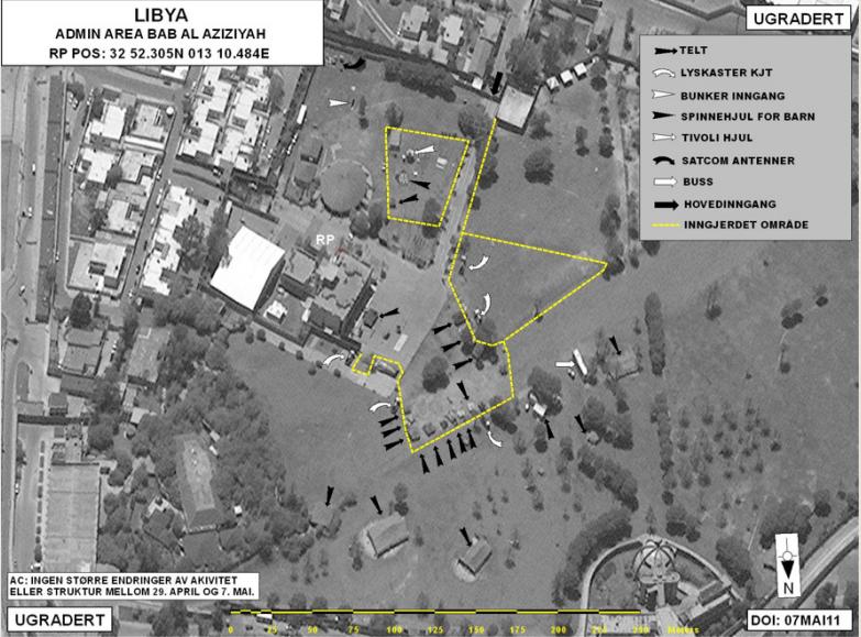BOMBET: Bildet er hentet fra rapporten fra Libya-utvalget, som ble lagt frem på torsdag. Det viser et bilde fra luften av bombemålet, navngitt som Bab al Azizyah.