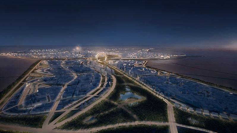 Slik planlegger man at den nye milliardbyen skal se ut på kveldstid.