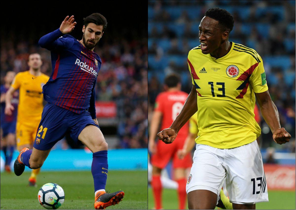 FØLGESVENNER: Både André Gomes (t.v) og Yerry Mina (t.h) bytter ut hjemmekampene på Camp Nou med Goodison Park kommende sesong.