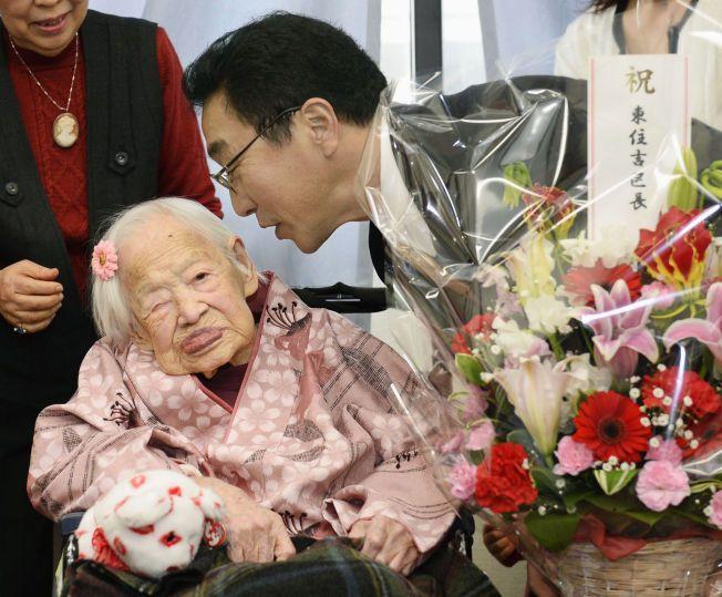 GAMMEL DAME: Misao Okawa (117) er verdens eldste levende person.