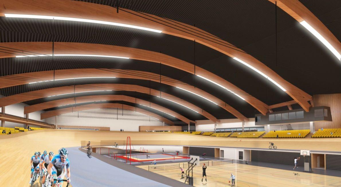 ENDELIG: Velodromen i Sola koster drøyt 200 millioner kroner og vil stå ferdig i 2020. I tillegg til sykkel, vil det bli mulig å drive idretter som turn og turn på indre bane.