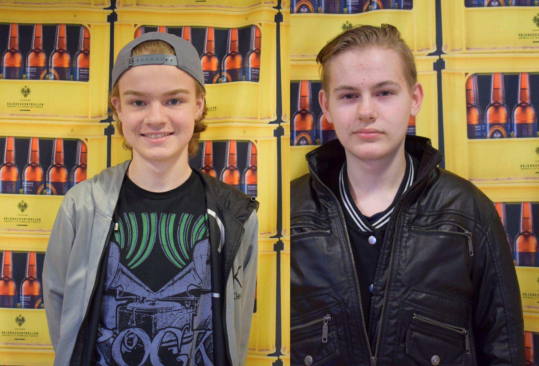 MINDREÅRIGE: 14 år gamle Sander Stenberg (t.v) og 15 år gamle Benjamin Selstø er skuffet over hvor enkelt det var for dem å kjøpe alkohol.
