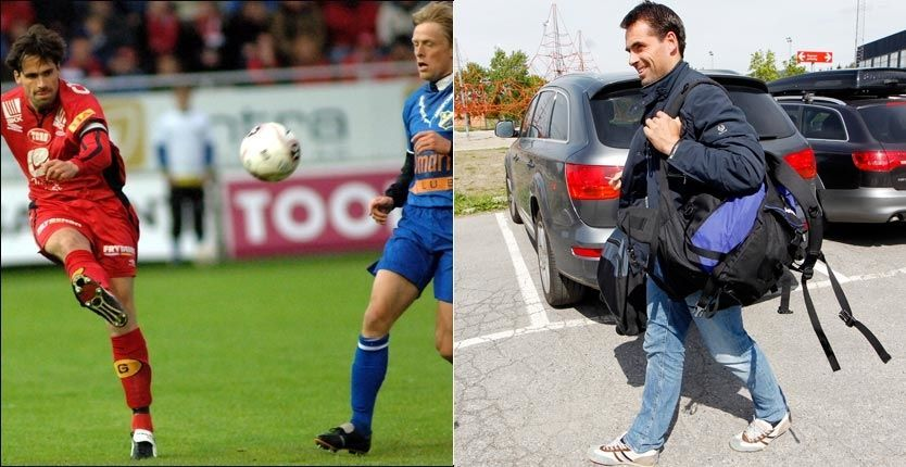 84937575 TO ANSIKTER: Spilleren Martin Andresen (til v.) duellerte med Jan Derek  Sørensen for Brann mot Lyn i 2005 iført omsydde Adidas-sko.