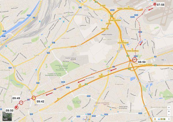 SLIK RØMTE HAN: Dette kartet fra belgisk politi viser ruten som «hattemannen» gikk fra flyplassen.