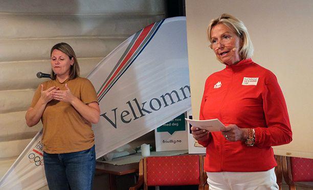 IDRETTSPRESIDENT: Berit Kjøll og NIF står som bestiller av den ferske spillpolitikkrapporten, sammen med Extra Stiftelsen. Her er Kjøll fra onsdagens presentasjon i Arendal.