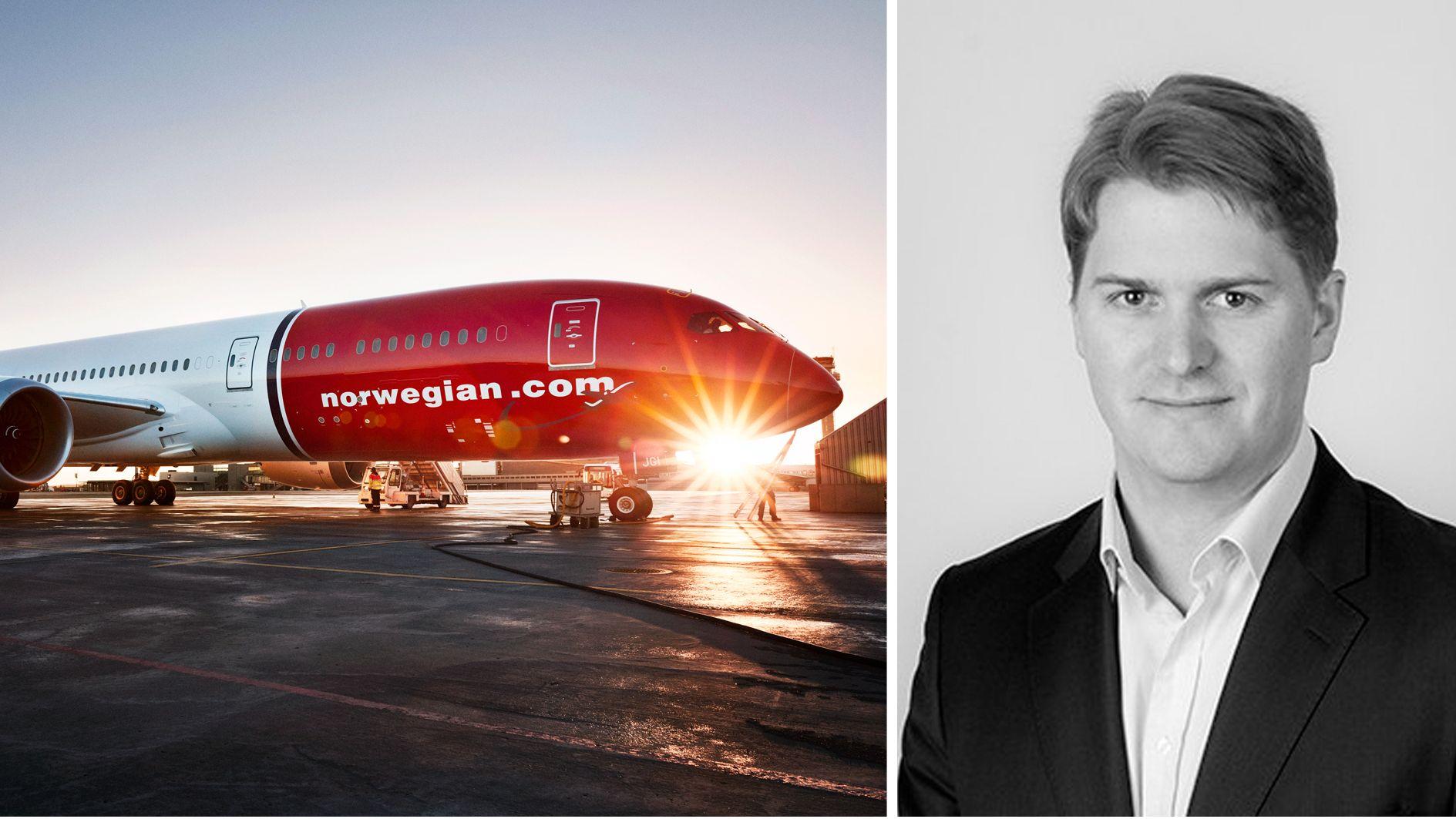 Porteføljeforvalter Philippe C. Sissener i Sissener AS og et av Norwegians Dreamliner-langdistansefly