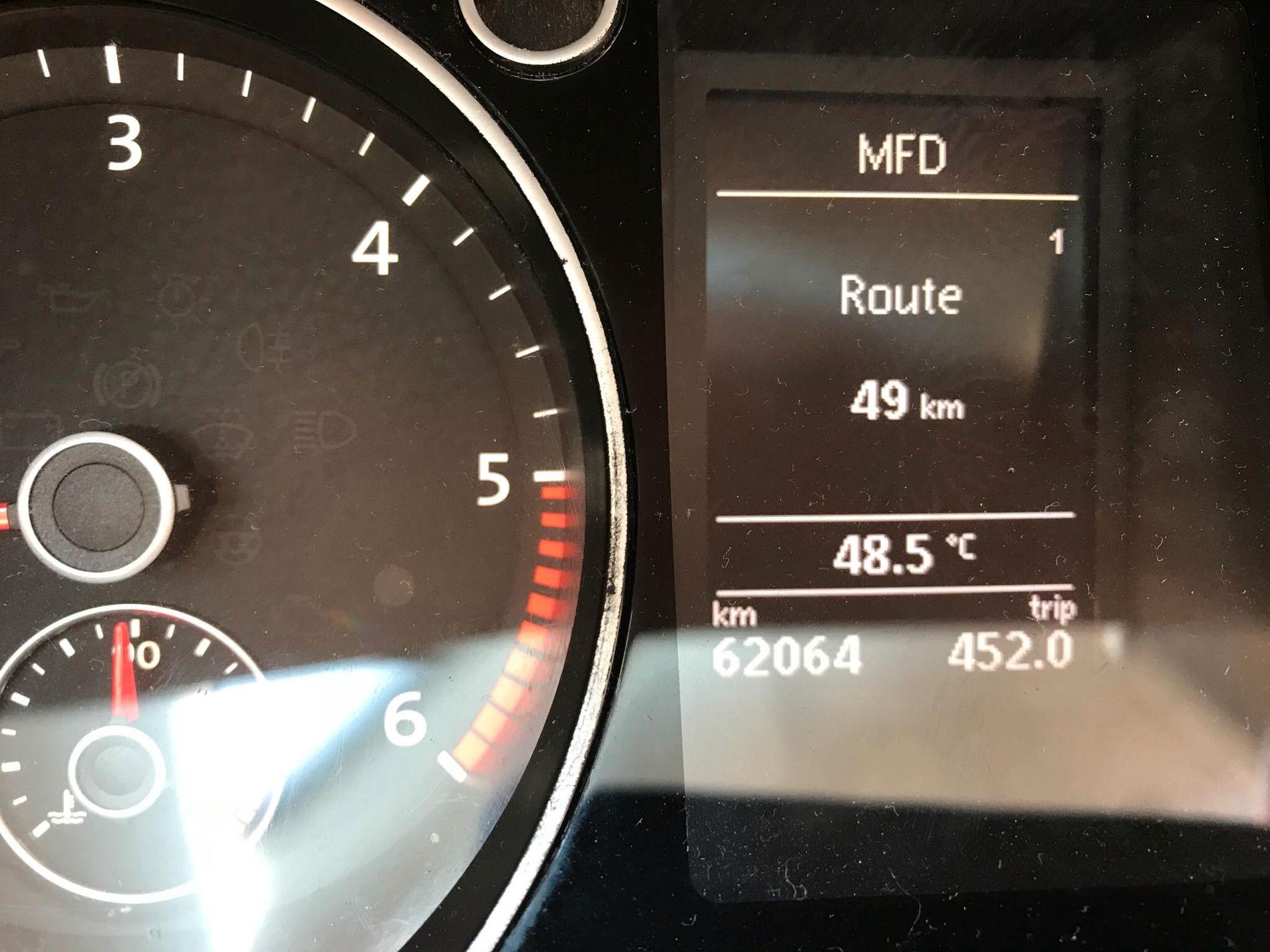 EKSTREM VARME: Marit Johannessen tok dette bildet av temperaturmåleren i formiddag. Hun er for tiden på ferie Torrevieja i Spania, som er et av stedene varmen toppet seg denne uken.