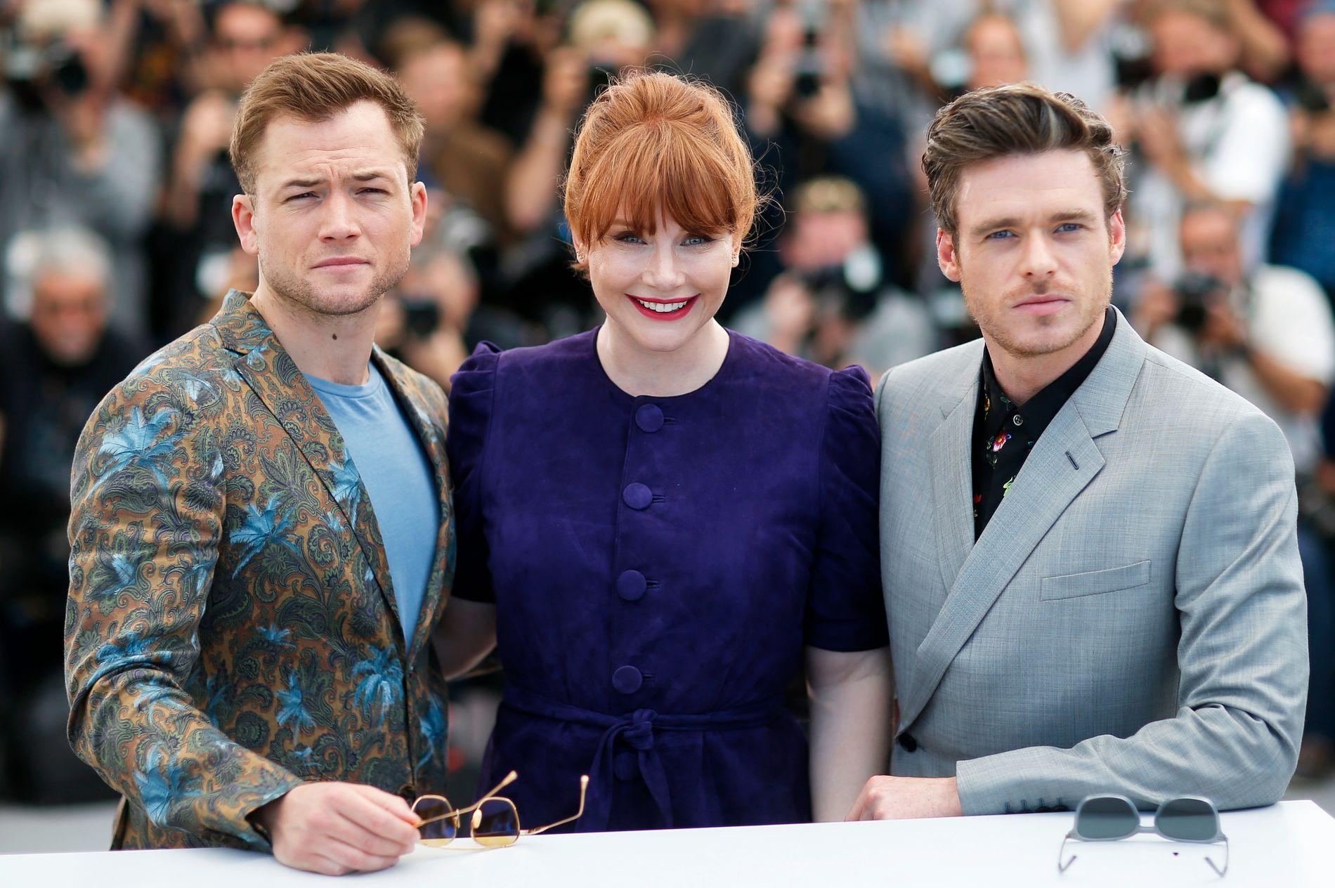 CANNES: Taron Egerton, Bryce Dallas Howard og Richard Madden i Cannes før premieren på «Rocketman» under filmfestivalen.