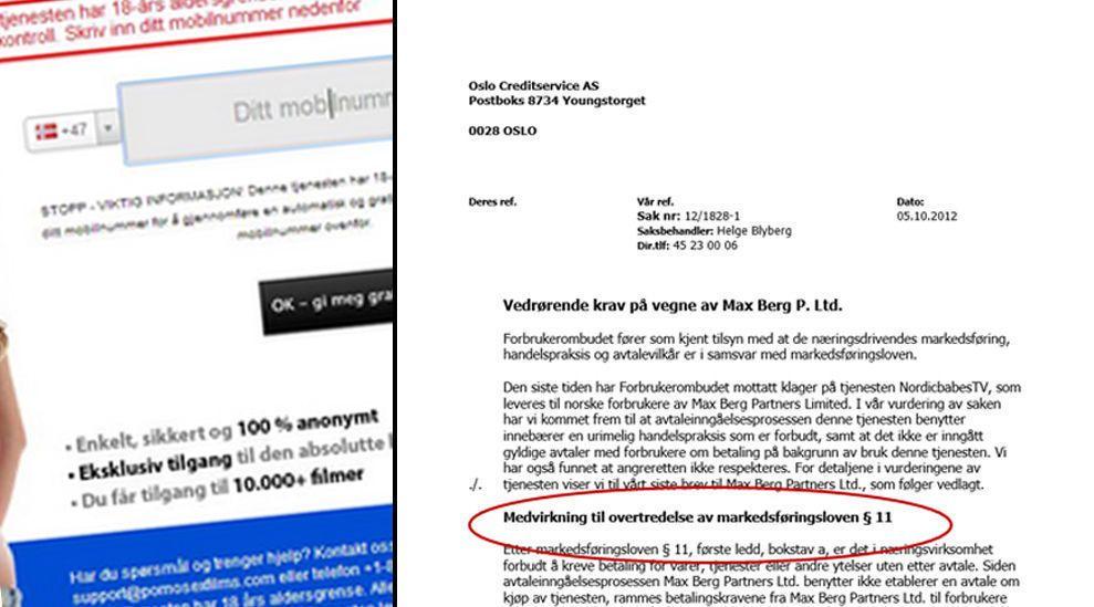 ADVARSEL: I et to år gammelt brev advarer Forbrukerombudet Oslo Creditservice om at innkrevningen fra utenlandske pornotjenester betyr medvirkning til lovbrudd. I bakgrunnen fra en pornoside drevet av firmaet Blue Ray Media, før siden ble tatt ned.