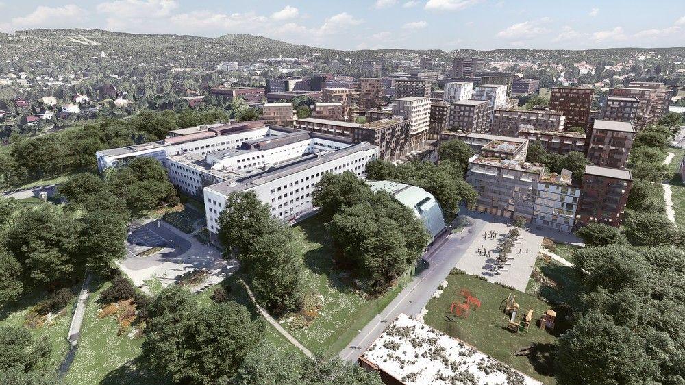 NYTT: Slik er skissen for nye Marienlyst. Det fredede Kringkastingshuset med Store Studio (buet tak) midt i bildet.
