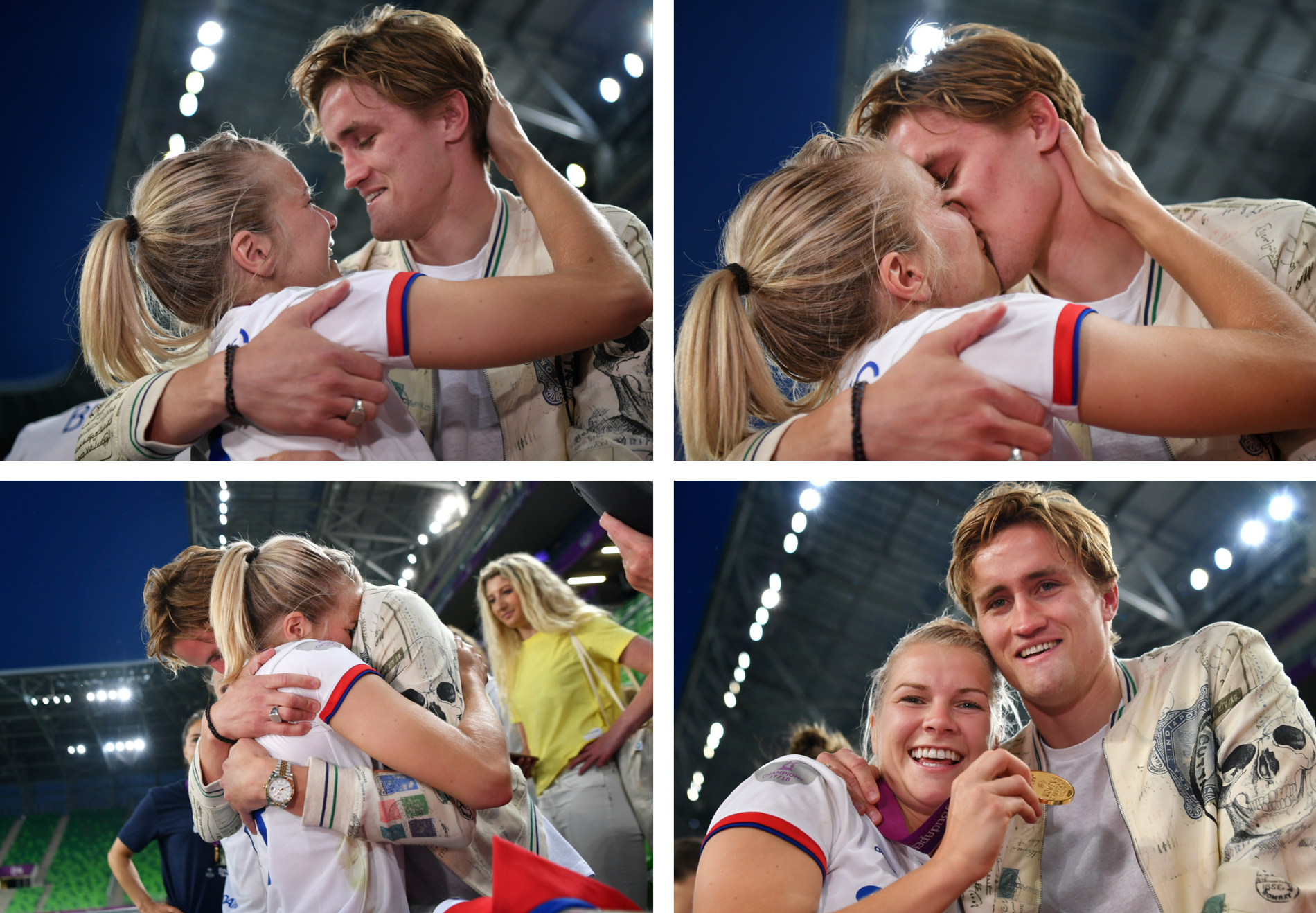 FORLOVEDEN VAR PÅ PLASS: Ada Hegerberg ble gratulert av Thomas Rogne etter at hun ble Champions League-finalens store spiller.