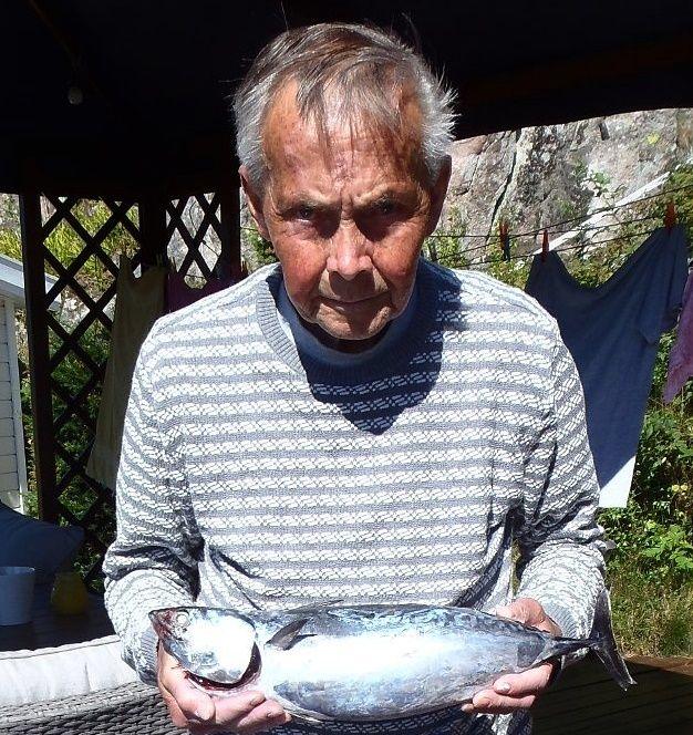 SENSASJON: Roy Erik Lindberg (71) kan være den første i Norge som har fått en auxid på kroken.