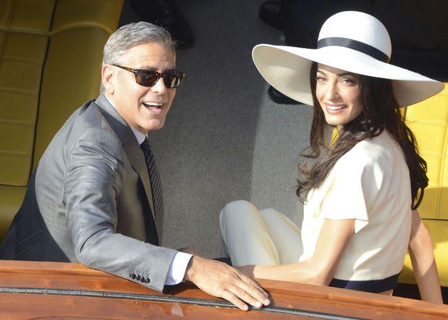 STJERNEPAR: George Clooney (53) og Amal Almuddin (38) møttes høsten 2013, knappe ett år senere sto bryllupet i Venezia